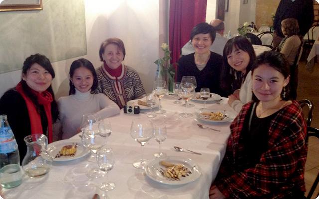 留学中訪ねてきてくれた恩師と、パルマの郷土料理で会食